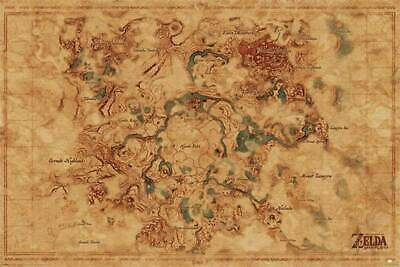 $12.99 • Buy Zelda Breath Of The Wild Hyrule Map Video Game Poster 24x36 Inch