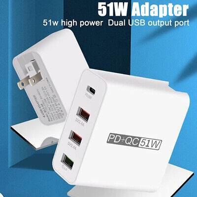 AU18.43 • Buy 51W Wall Charger PD Fast Charging For Samsung 4 Ports QC3.0 USB Power Adap FT