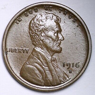 $ CDN10.31 • Buy AU+ 1916-D Lincoln Wheat Cent Penny FREE SHIPPING