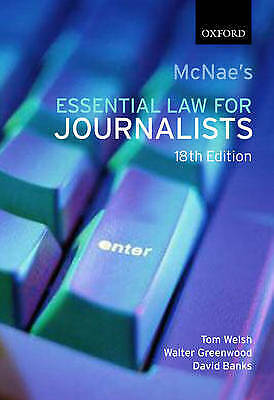 £6.19 • Buy McNae's Essential Law For Journalists By Banks, David, Greenwood, Walter, Welsh,