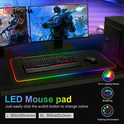 AU19.94 • Buy New RGB LED Gaming Mouse Pad Extend Anti-slip Desk Mat Rubber Speed Mousepad