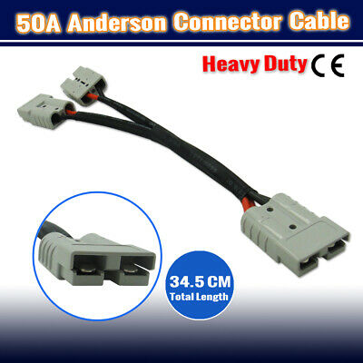 AU19.95 • Buy 2 To1 ANDERSON STYLE PLUG DOUBLE ADAPTER LEAD AMP 50A 12VOLT Y Adaptor
