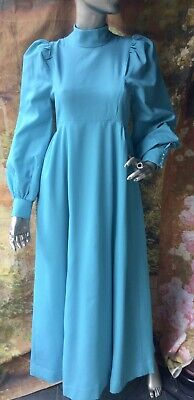 £19.99 • Buy Vintage 1970's Turquoise Bridesmaid Dress Edwardian High Neck Style S Theatre