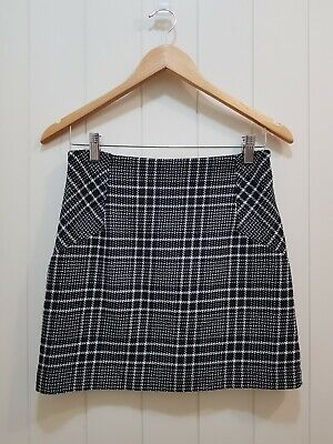 AU29 • Buy Forever New Short A-Line Tartan Skirt Lined Black White Plaid Casual Size 8