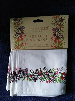 £6.75 • Buy NEW. Christmas Napkins (Set/pack Of 4). Cotton. By Cooksmart. Good Quality.