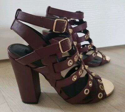 £9.99 • Buy TOPSHOP Size 3 Burgundy STUDDED CAGED HEELS Strappy GOLD Sandals BLOCK Chunky