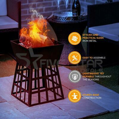 £47.94 • Buy Outdoor Table Top BBQ Camping Black Fire Pit Square Log Patio Garden Heater New