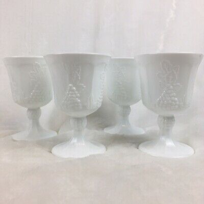 $18 • Buy 4 Vintage Indiana Milk Glass Grape Pattern Footed Goblet