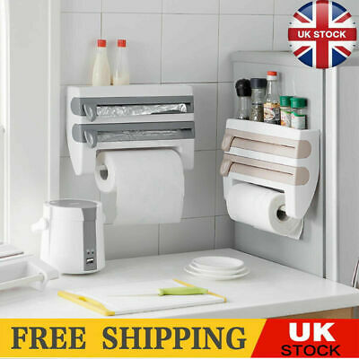 £8.88 • Buy 4 In 1 Kitchen Roll Dispenser Cling Film Tin Foil Wall Mounted Towel Holder Rack