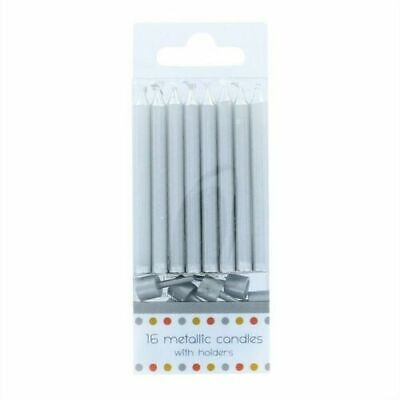 £1.99 • Buy 16 Metallic SILVER Candles With Holders 60mm Birthday Party Xmas Cake Toppers