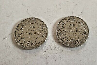 £10 • Buy 2 Canadian Half Dollars - King George V Silver Coins - 1913 And 1917