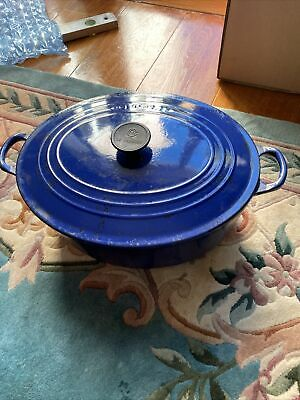 £40 • Buy Le Creuset Oval Huge 35cm Casserole Cast Iron Dish With Lid Blue Dutch Oven