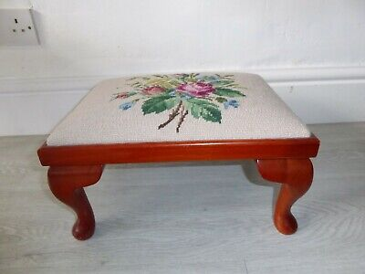 £23.99 • Buy Vintage Embroidered Low Sewing Stool Wooden Fabric Floral