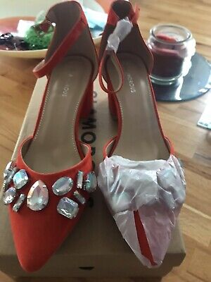 £20 • Buy Womens Asos Shoes Size 4 Orange Ankle Strap With Diamante Design