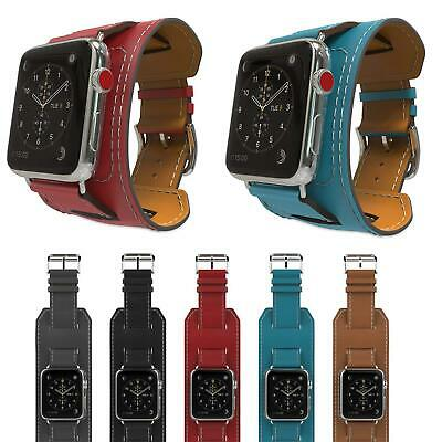 AU20.99 • Buy 38/42/40/44mm Genuine Leather Cuff Strap Band For Apple Watch Series 6 5 SE 3 4