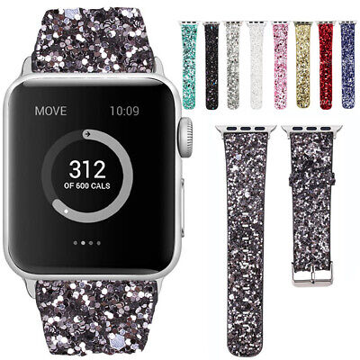 AU19.99 • Buy 3D Women Glitter Bling Leather Watch Band Strap For Apple Watch 38 40 42 44mm