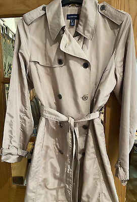 £10 • Buy Ladies Beige Camel Khaki Waterproof Belted Long Trench Coat Lands End Size L