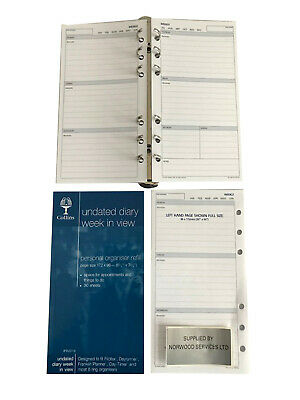 £6.99 • Buy UNDATED (Any Year) Week In View Diary Insert A6 (95x170mm) Personal Filofax Size