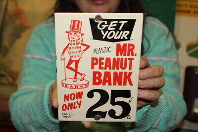 $ CDN13.91 • Buy Planters Mr. Peanut Bank 25c Candy Store Nuts Gas Oil Porcelain Metal Sign
