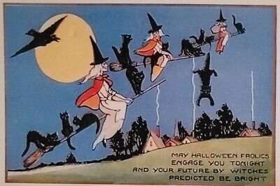 $ CDN3.01 • Buy HALLOWEEN WITCH WITCHES & BLACK CATS FLYING FULL MOON Repro Vintage Postcard