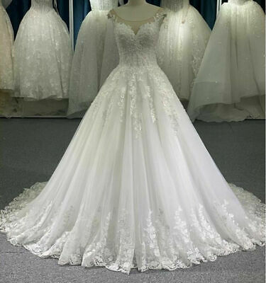 $ CDN186.32 • Buy A-Line Princess Wedding Dresses Chapel Train Bridal Gowns Custom Made Plus Size