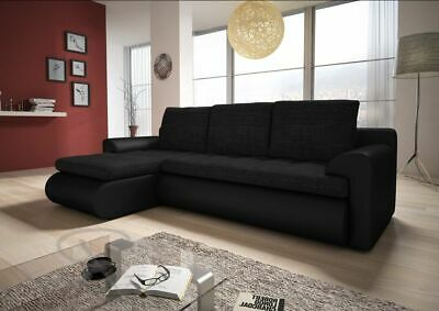 £425 • Buy Left Hand Side Corner Sofa Bed In Black Colour With One Storage