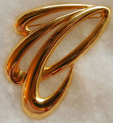 $3.99 • Buy Brooch Pin, M Jent, Abstract Swirl Modernist Goldtone Large Statement Pin Signed