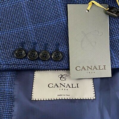 £282.57 • Buy Canali Impeccabile Water Resistant Wool Blue Check Blazer Men's US 42R # L 13280