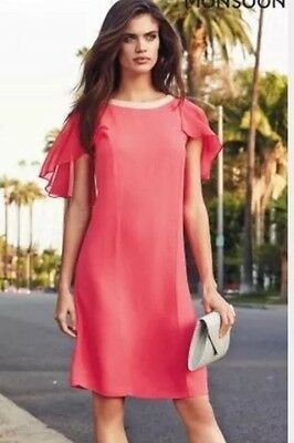 £25.99 • Buy New Monsoon Size 12 Jodie Tunic Knee Length Dress Coral Wedding Races Party 🌹