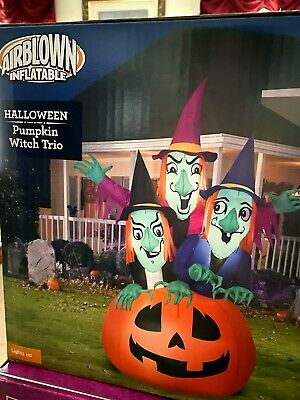 $ CDN119.77 • Buy New! Large Light Up 6.5' Witch Trio On Pumpkin Halloween Inflatable Yard Decor