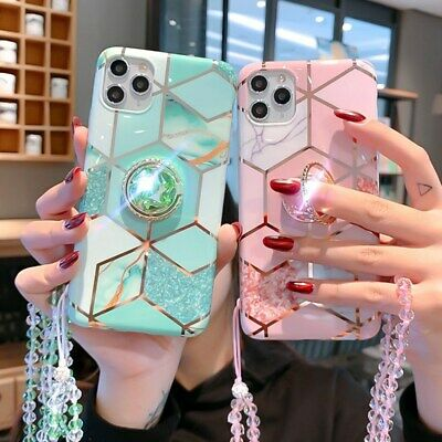 AU18.99 • Buy For IPhone 12 Pro Samsung Huawei Marble Glitter Sparkle Case+Ring Holder +Rope