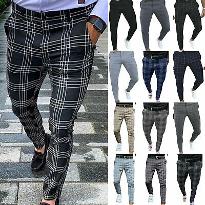 $22.13 • Buy Mens Stretch Skinny Slim Fit Chino Pants Flat Front Casual Office Harem Trousers