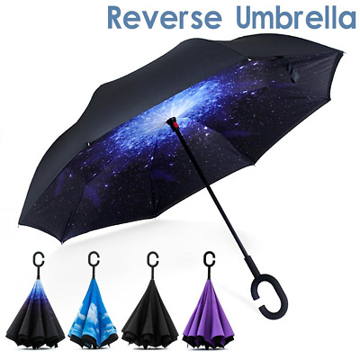 AU16.29 • Buy Windproof C-Handle Reverse Umbrella Upside Down Double Layer Inside-Out Inverted