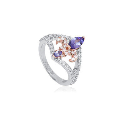 £840 • Buy NEW Clogau 18ct White & Rose Gold Tanzanite Royal Lily Ring £1160 Off! Size L