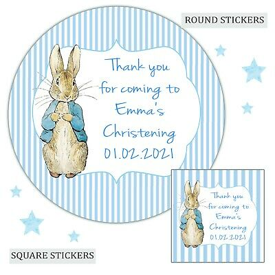 £3.40 • Buy Personalised Christening Stickers Peter Rabbit Boy Labels Party Bag Thank You