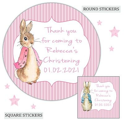 £3.40 • Buy Personalised Christening Stickers Flopsy Bunny Girl Labels Party Bag Thank You
