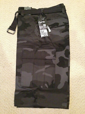 $21.99 • Buy NWT Men's Regal Wear Black Gray Camouflage Camo Belted Cargo Shorts BIG SIZES