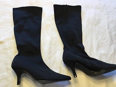 £15 • Buy Black Satin Stretch Stiletto Boots Size 6 By Red Herring