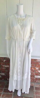 £63.85 • Buy Antique Edwardian White Lawn Embroidered Lingerie Tea Dress S AS IS Project
