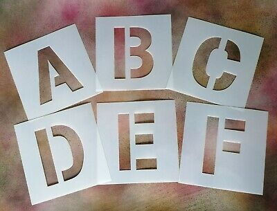 £1.52 • Buy 10cm / 100mm TALL LARGE ALPHABET STENCIL LETTERS & NUMBERS - PLASTIC MYLAR