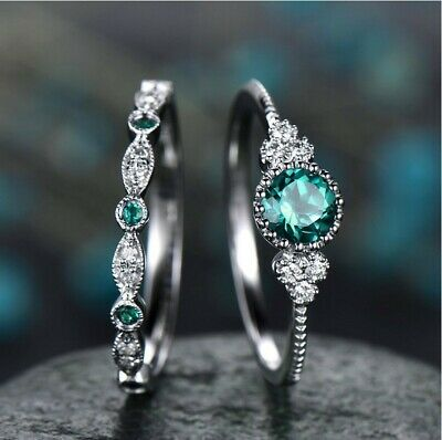 £2.99 • Buy 2PCS Set 925 Sterling Silver Plated Couple Diamond Crystal Engagement Rings Gift