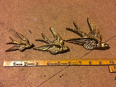 £45 • Buy Set Of 3 Vintage Brass Wall Hanging Flying Swallows 65 Yrs Old, Circa 1950s