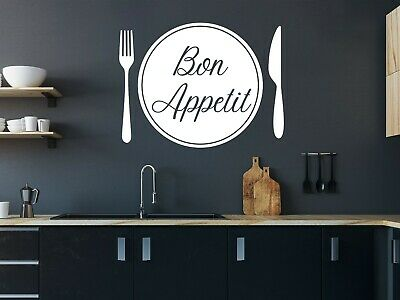 £3.99 • Buy Wall Art Stickers Bon Appetit Fork Knife Plate Cutlery Decals, Kitchen Quotes D