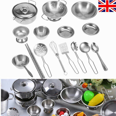 £11.45 • Buy 16 Pcs Stainless Kitchen Cooking Utensils Pots Pans Set Play Kids Child Toy Gift