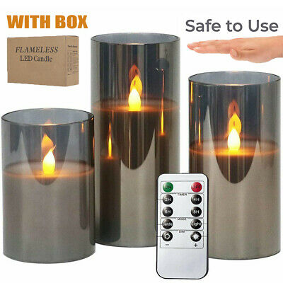 £19.99 • Buy 3X Flameless Candle Lights Remote Battery Operated Flickering LED Pillar Candles