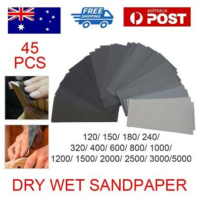 AU10.59 • Buy 45PCS Sandpaper Mixed Wet And Dry Waterproof 120-5000 Grit Sheets Assorted Wood