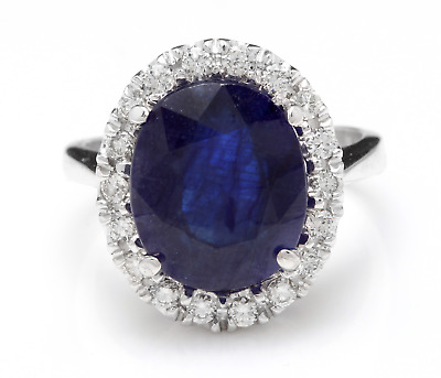 AU1858.71 • Buy 8.35 Carats Natural Sapphire And DIAMOND 14K Solid White Gold Ring