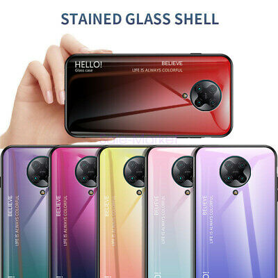 AU5 • Buy For Xiaomi Poco F2 Pro Luxury Slim Tempered Glass Gradient Soft Frame Cover Case
