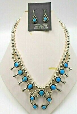 $ CDN461.47 • Buy  Navajo Sterling Silver Turquoise Squash Blossom Necklace Earrings Choker 18