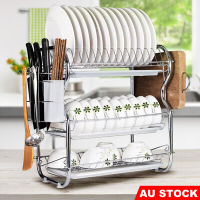 AU26.95 • Buy 3 Tier Kitchen Dish Rack Stainless Steel Cup Drying Drainer Tray Cutlery Holder